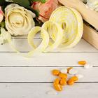 Лента декоративная плетёная, цвет лимонный с белым