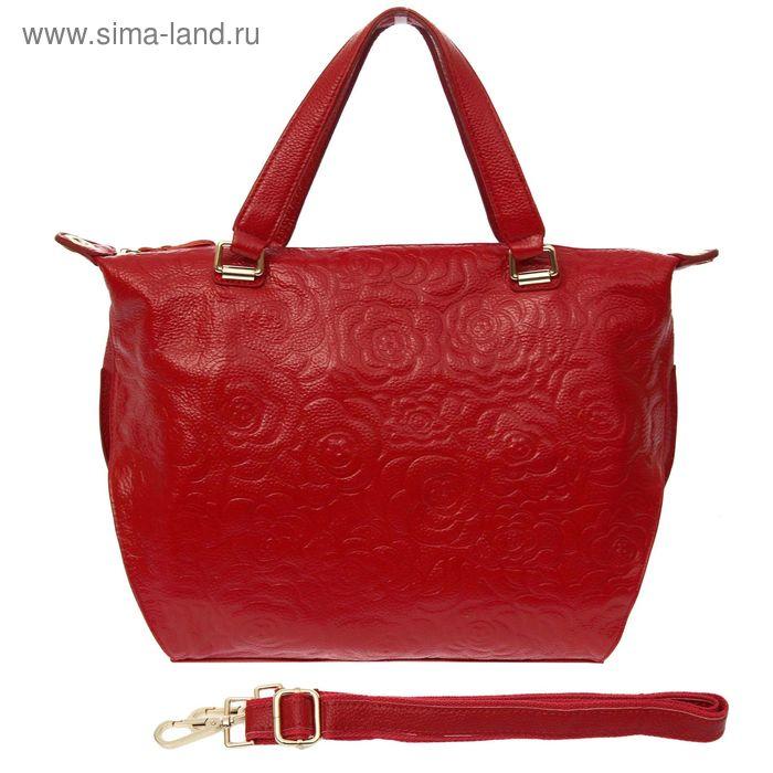 """Сумка женская """"Хейз"""", 1 отдел с перегородкой, наружный карман, длинный ремень, бордовый"""