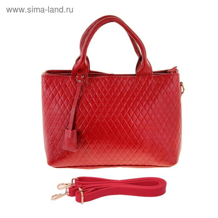 """Сумка женская """"Инга"""", 2 отдела, наружный карман, длинный ремень, бордовая"""