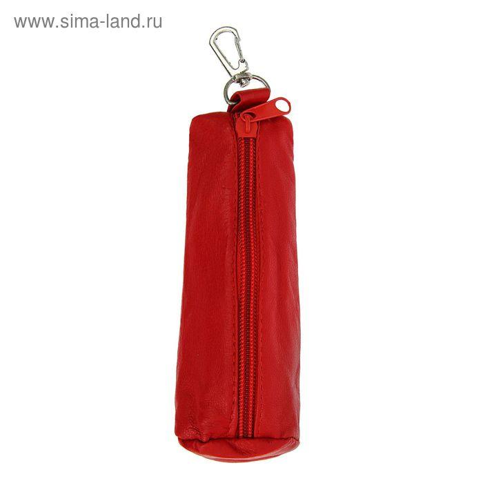 """Ключница на молнии """"Анита"""", металлическое кольцо, карабин, красный матовый"""