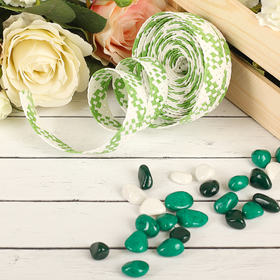 Decorative woven tape, color green with white