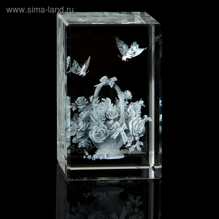 "Сувенир кристалл ""Цветы в корзине"""
