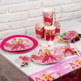 "A set of paper tableware ""Holiday Princess"" for 6 persons"