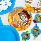 Набор бумажной посуды «Пират», 6 стаканов, 6 тарелок, 6 салфеток, 6 дудок, 6 ложек, скатерть - фото 951125
