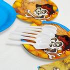Набор бумажной посуды «Пират», 6 стаканов, 6 тарелок, 6 салфеток, 6 дудок, 6 ложек, скатерть - фото 951126