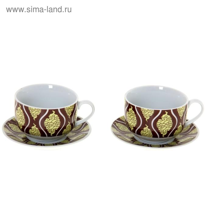 """Сервиз чайный """"Старинный орнамент"""", 4 предмета: 2 чашки 250 мл, 2 блюдце 130 мм"""