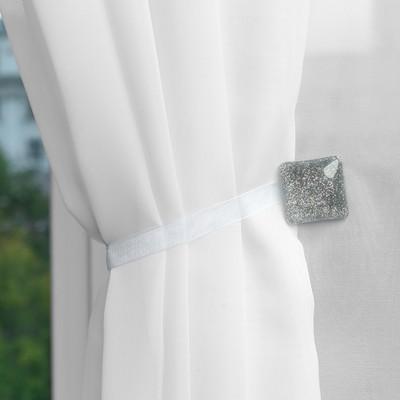 Подхват для штор «Квадрат с блёстками», 3,5 × 3,5 см, цвет серебряный