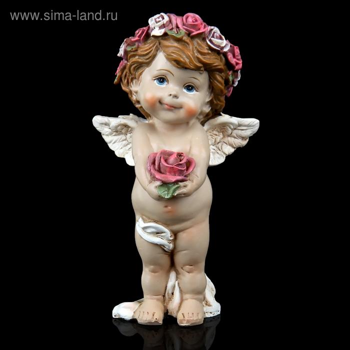 """Сувенир """"Ангел в веночке с розой"""""""
