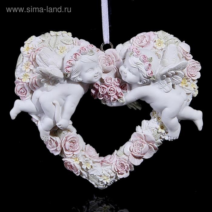 """Сувенир """"Два ангела на цветочном сердце"""" подвесной"""