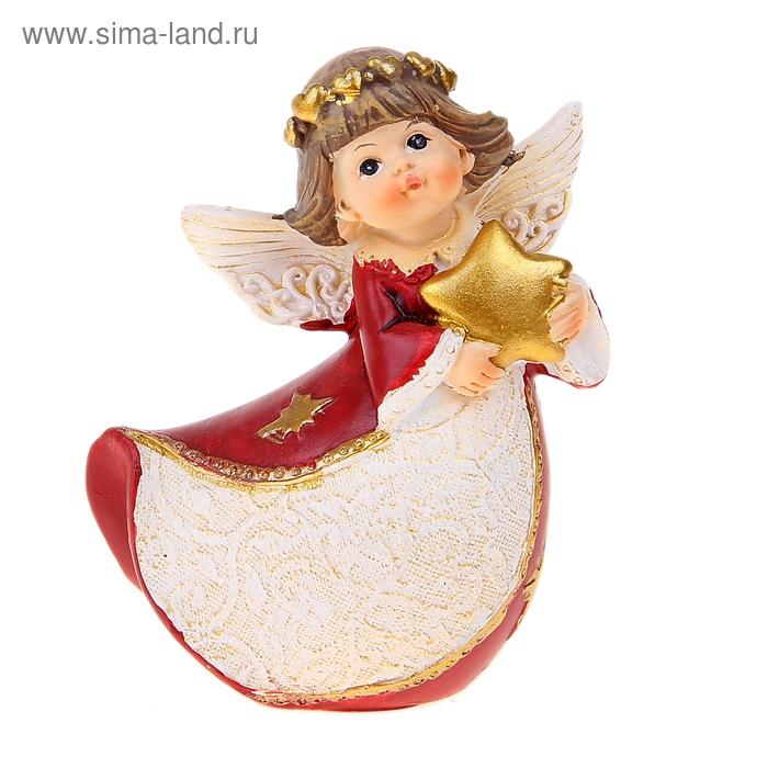 """Сувенир """"Ангел в красном платье с сердцем/ звездой"""" МИКС"""