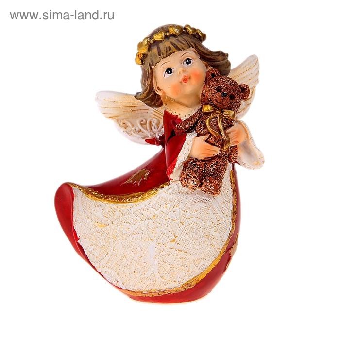 """Сувенир """"Ангел в красном платье с подарком/ с мишкой"""" МИКС"""