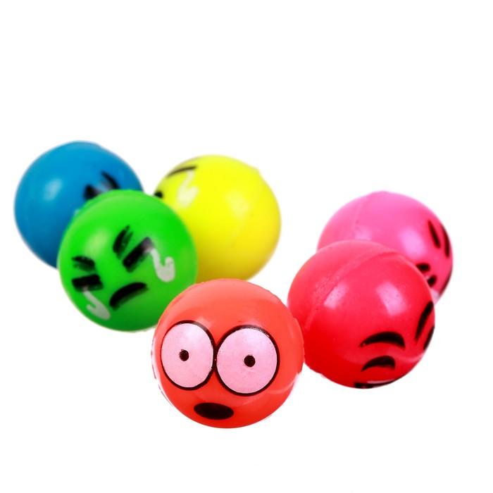 Мяч каучуковый «Рожицы», 2,7 см, цвета МИКС