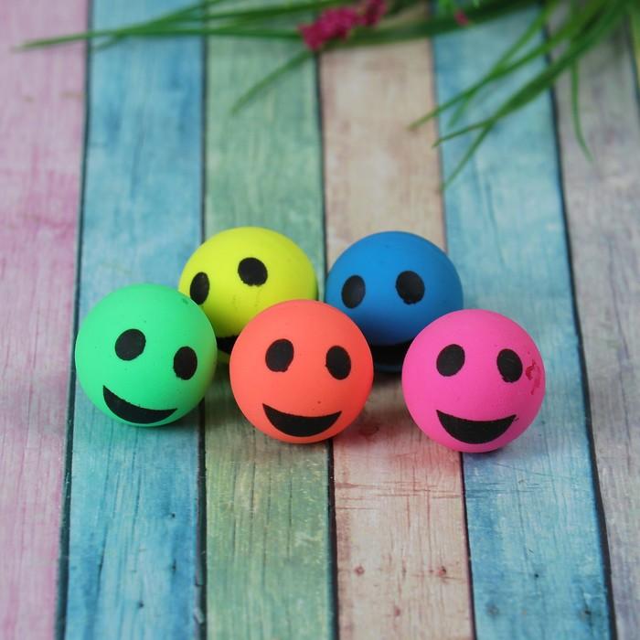 """Мяч каучук """"Веселые смайлы"""" 3,2 см, цвета МИКС"""