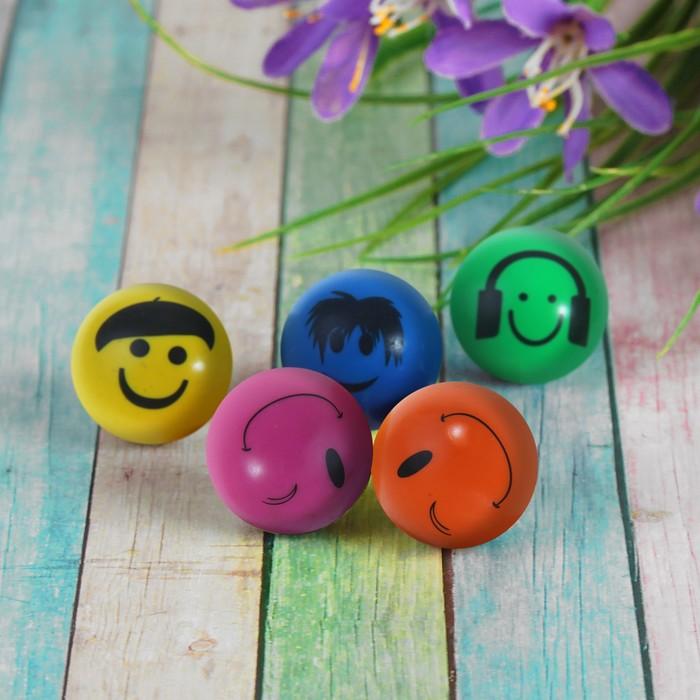 """Мяч каучук """"Смешные рожицы"""" 4,5 см, цвета МИКС"""