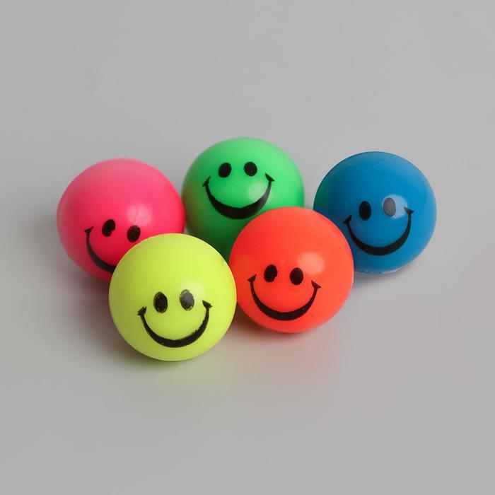 """Мяч каучук """"Веселые смайлы"""" 2,7 см, цвета МИКС"""