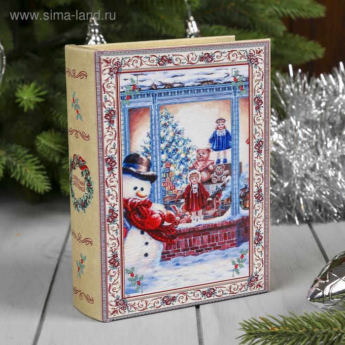 "Шкатулка ""Снеговик у магазина с новогодними игрушками"""