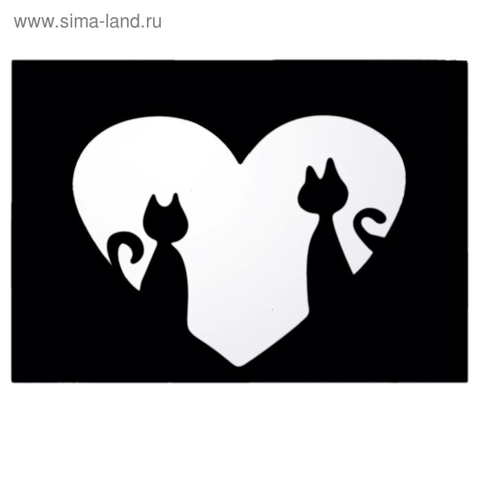"""Наклейка интерьерная зеркальная """"Кошки в сердце"""""""