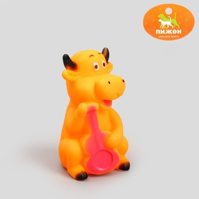 Toy rubber squeaky Cow, 10 cm, mix colors