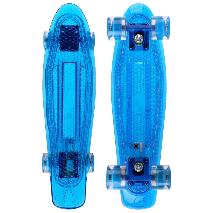 Скейтборд со светящимися колёсами, PU d= 60*45 мм, алюминиевая рама МИКС