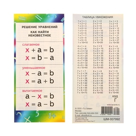 Карточка-шпаргалка 'Решение уравнений. Как найти неизвестное', сложение и вычитание, 11х20 см 106017 Ош