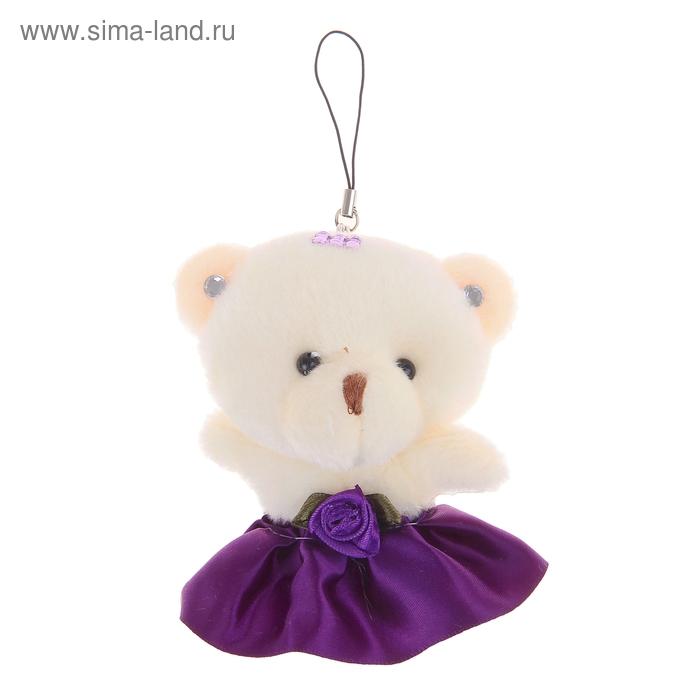 """Мягкая игрушка-подвеска """"Мишка"""", юбочка с розой, цвет тёмно-фиолетовый"""