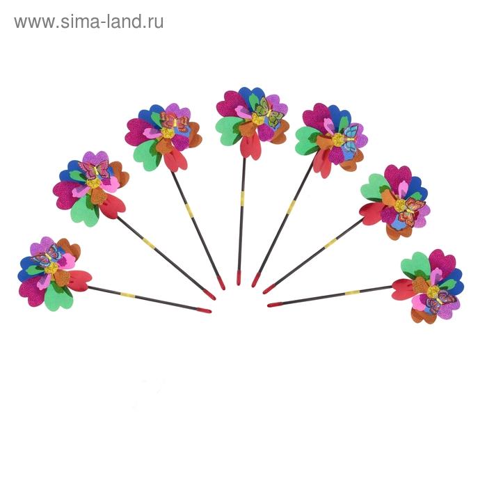 """Ветерок """"Цветочек с бабочкой"""", цвета МИКС"""