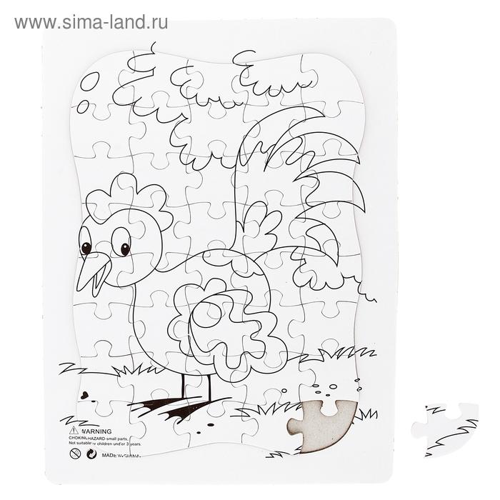 """Раскраска-пазл """"Петушок"""" картинка 40 элементов"""