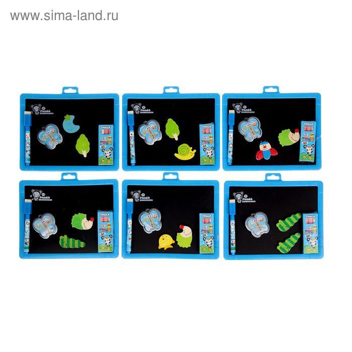 Доска магнитная двухсторонняя, под маркер и мел, стиралка, мел 3 шт, маркер, звери 2 шт, цвета МИКС