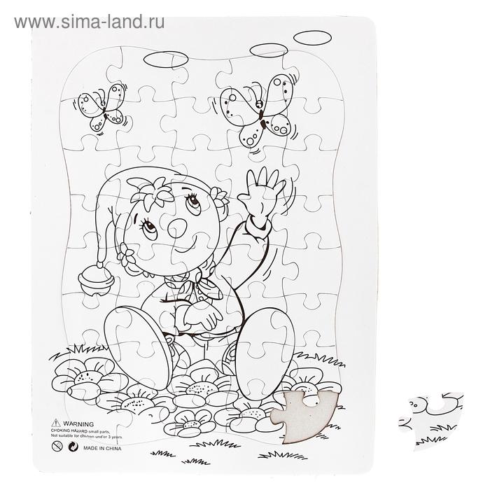 """Раскраска-пазл """"Мальчик на полянке"""" картинка 40 элементов"""