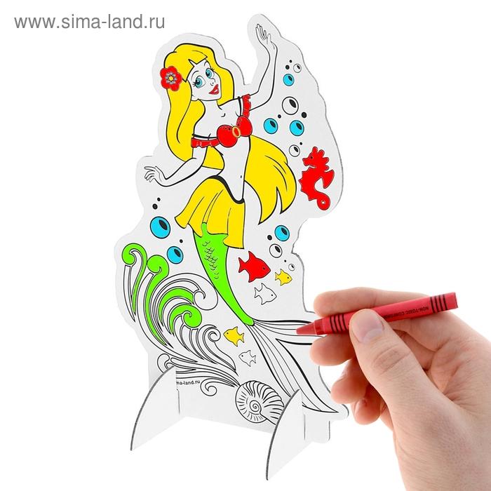 """3D-раскраска """"Русалочка"""" и 6 восковых карандашей"""