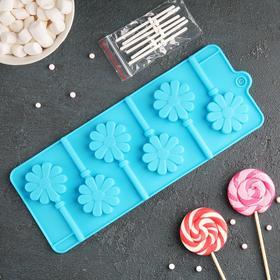 Форма для леденцов и мороженого Доляна «Ромашка», 9,5×24×1 см, 6 ячеек (d=3,8 см), с палочками, цвет МИКС