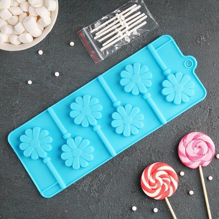 """Форма для леденцов и мороженого """"Ромашка"""", 6 ячеек, палочки в комплекте, цвета МИКС"""