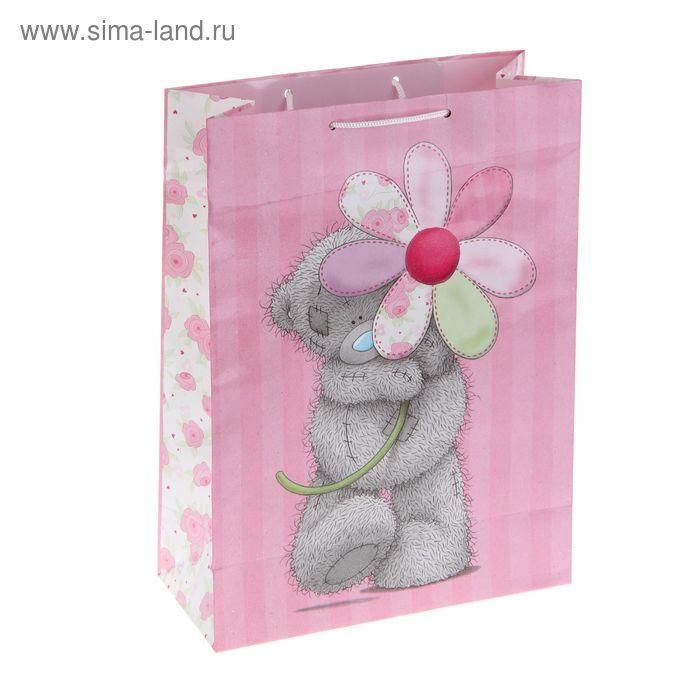 "Пакет подарочный ""Мишутка с цветком"", 26.4 х 36 х 11.5 см, Me to you"