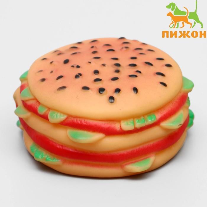 """Игрушка пищащая """"Гамбургер с салатом"""" для собак, 9,5 см, микс цветов"""