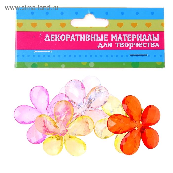"""Пуговицы декоративные """"Прозрачный цветок"""", набор 6 шт."""