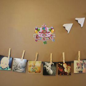 Плакат «С Днём Рождения», торт с шарами