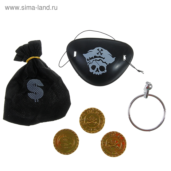 """Набор пирата """"В поисках сокровищ"""", 6 предметов: мешок, наглазник, клипса, 3 монеты"""