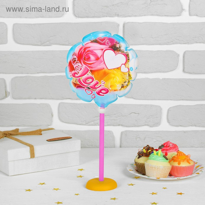 "Шар фольгированный 7"" Love, шар + зажим, палочка, подставка"