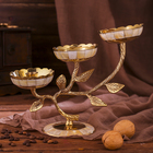 Подсвечник на 3 свечи «Три бутона» с перламутровыми вставками