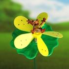 "Декоративный штекер ""Лягушка на цветке"" с пропеллером, микс"