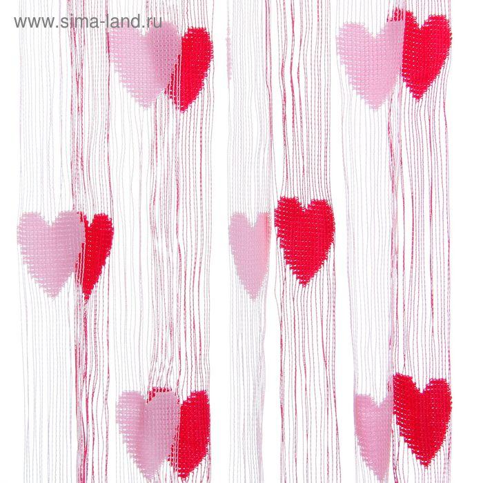 "Штора нитяная 95х200 см ""Сердечки"", цвет розово-малиновый"