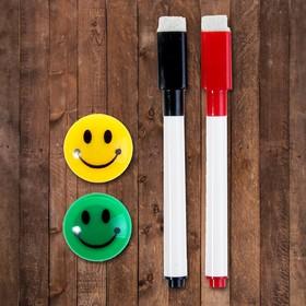 Маркеры на водной основе со стиралкой 2 шт, цвета чёрный и красный, 2 магнита