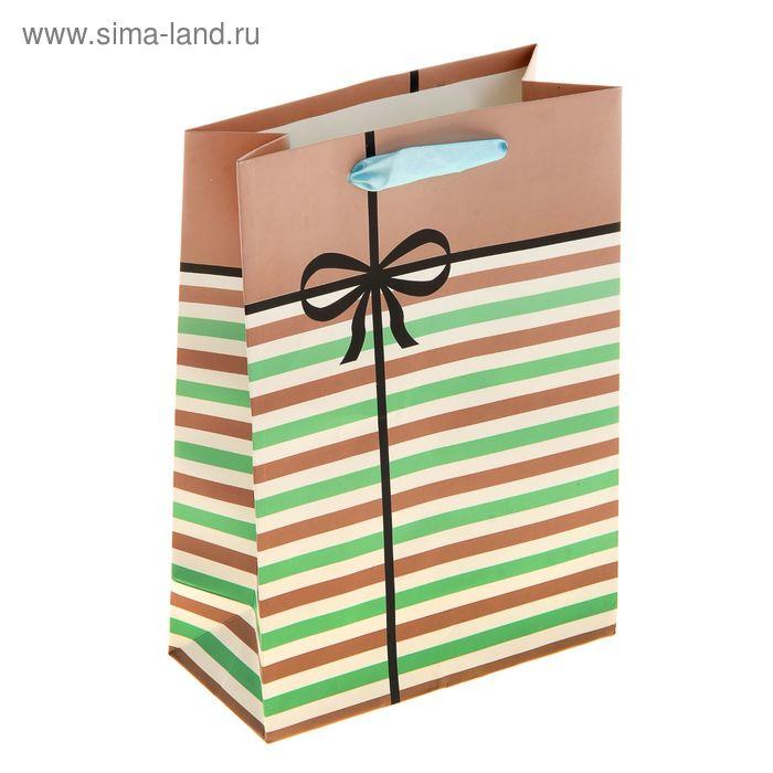 """Пакет ламинированный """"Полосатик с бантиком"""", цвет бежевый"""
