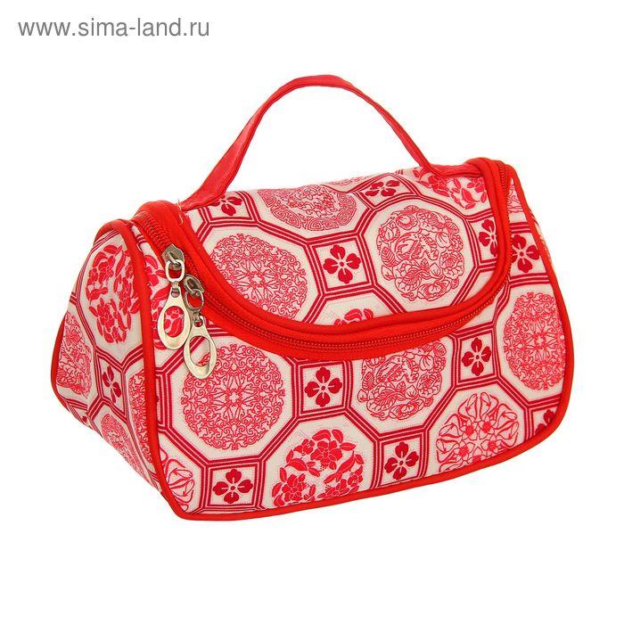 """Косметичка-сумочка """"Арабия"""", 1 отдел на молнии, с зеркалом, цвет красный"""