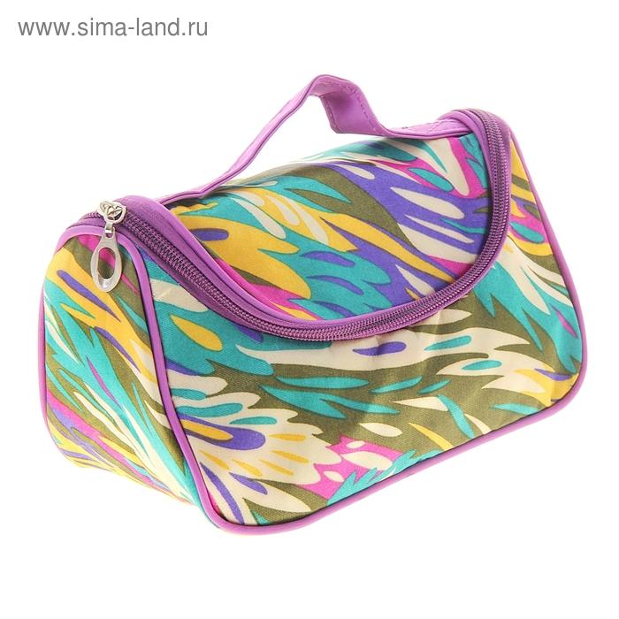 "Косметичка-сумочка ""Брызги"", 1 отдел на молнии, с зеркалом, цветная"
