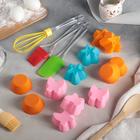 """Набор для выпечки 12 предметов """"Лёд"""": 9 форм 7х6 см, лопатка 25 см, кисть 22 см, венчик 25 см"""