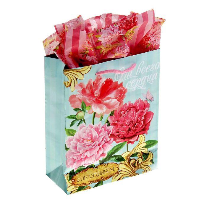 Набор для упаковки подарка «Чарующий пион», MS 18 × 23 × 8 см