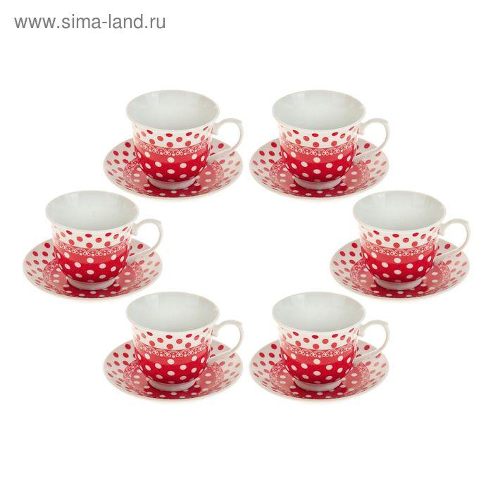 """Сервиз чайный 12 предметов """"Полька"""", цвет красный"""