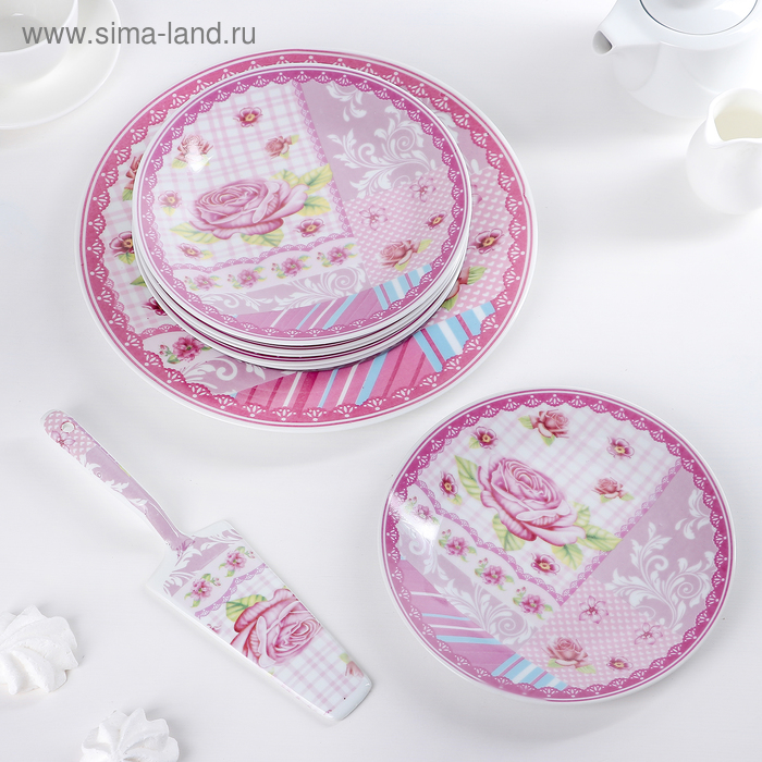"""Набор для торта 8 предметов """"Розовая каемочка"""" (блюдо d 27 см, тарелки d 19 см)"""