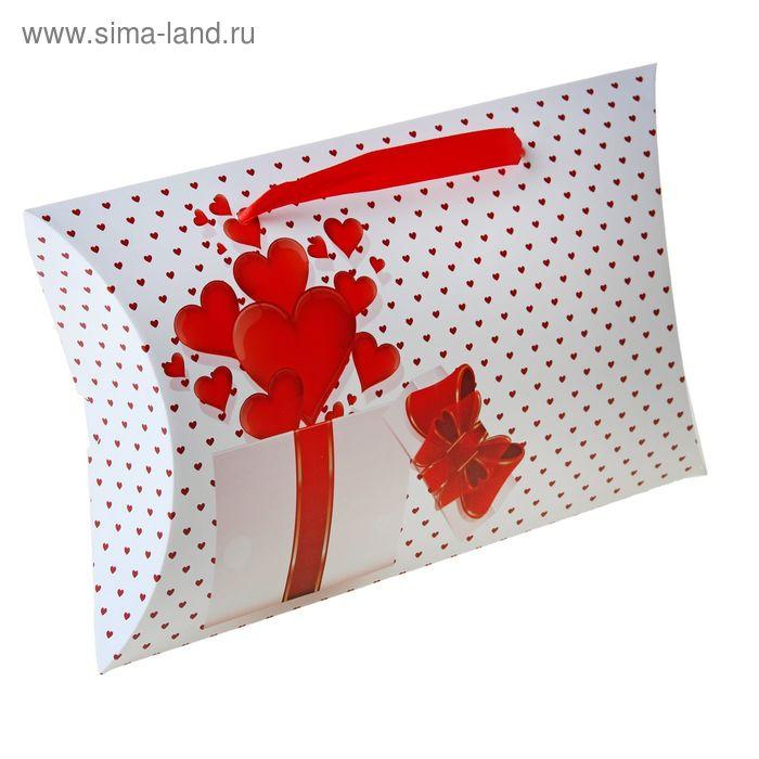 """Коробка-подушка складная """"Красные сердца"""", цвет белый"""